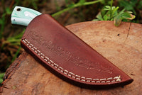 |Knives Hub| Custom Handmade Skinning Neck Knife With Leather Sheath