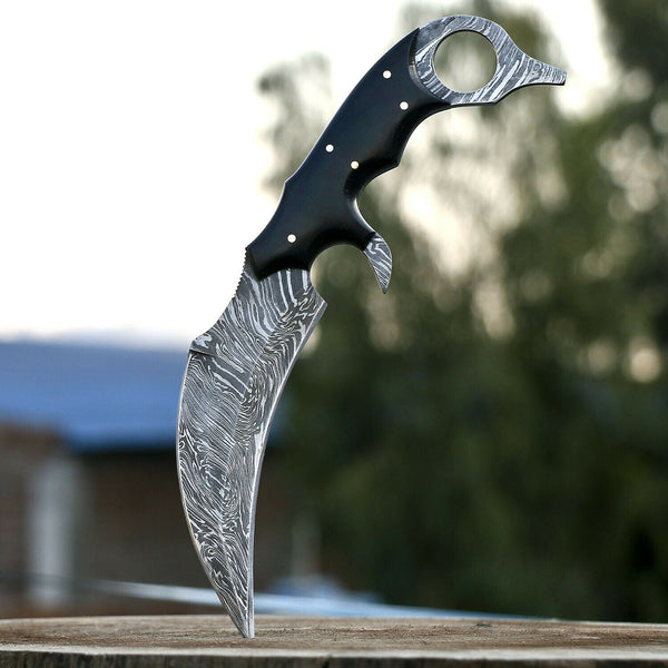 |Knives Hub| Handmade Damascus Steel Karambit Knife With Leather Sheath