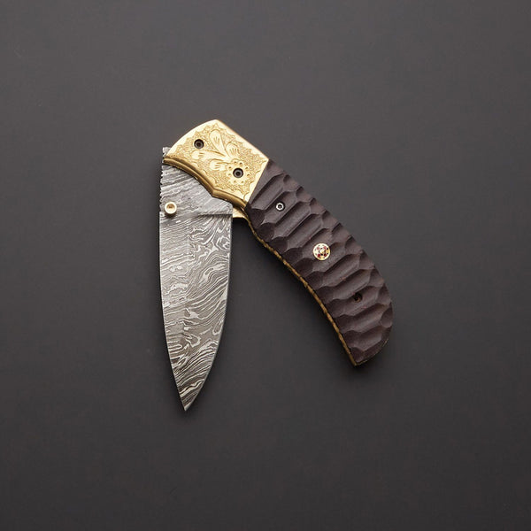 Custom Handmade Damascus Steel Folding Pocket Knife With Leather Sheath....Knives Hub