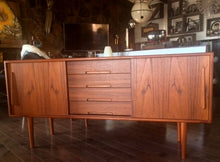 "Load image into Gallery viewer, Restored Danish MCM Teak Credenza Console 63"" perfect - Mid Century Modern Toronto"