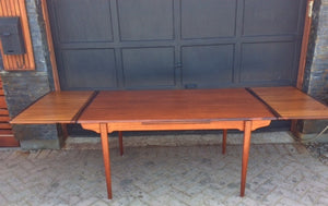 "REFINISHED MCM  Teak Draw Leaf Table W ROSEWOOD Edge 60""-98"" - Mid Century Modern Toronto"