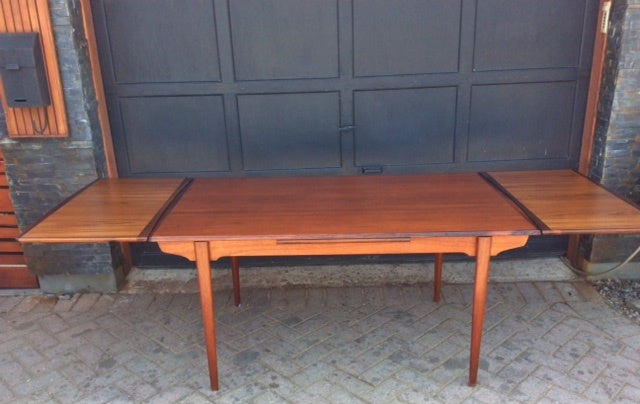 REFINISHED MCM  Teak Draw Leaf Table W ROSEWOOD Edge 60