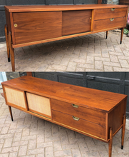 "Load image into Gallery viewer, REFINISHED MCM Walnut Media Console or Buffet with reversible doors 72"", almost perfect - Mid Century Modern Toronto"
