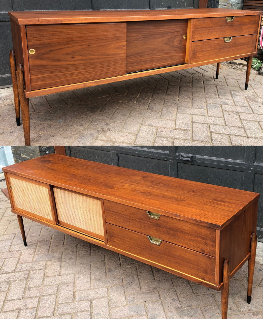 REFINISHED MCM Walnut Media Console or Buffet with reversible doors 72