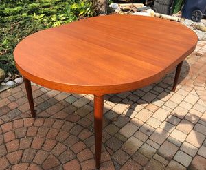 "REFINISHED Danish MCM  Round Teak Table w 2 Leaves 47""-86.5"" by Harry Ostergaard - Mid Century Modern Toronto"