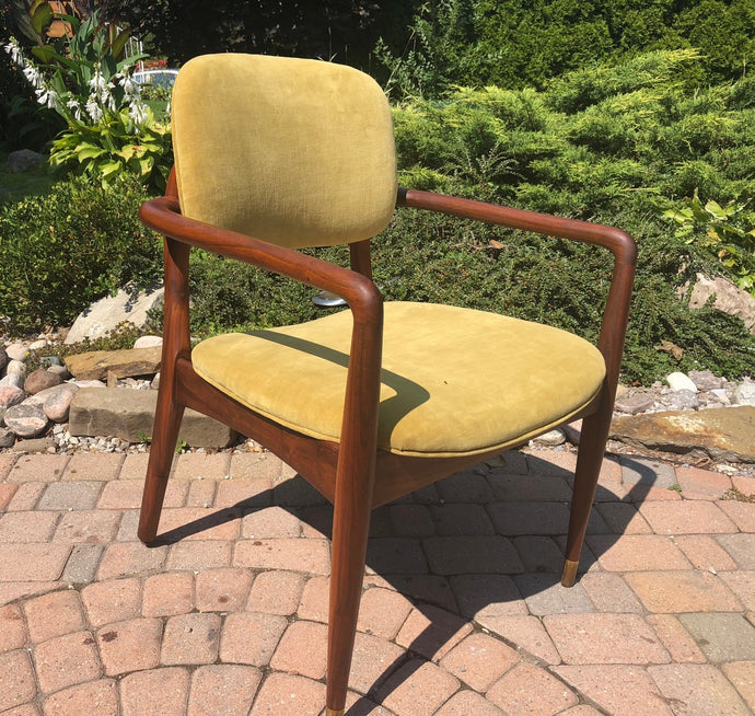 REFINISHED REUPHOLSTERED MCM Walnut Armchair in Mustard Velvet - Mid Century Modern Toronto