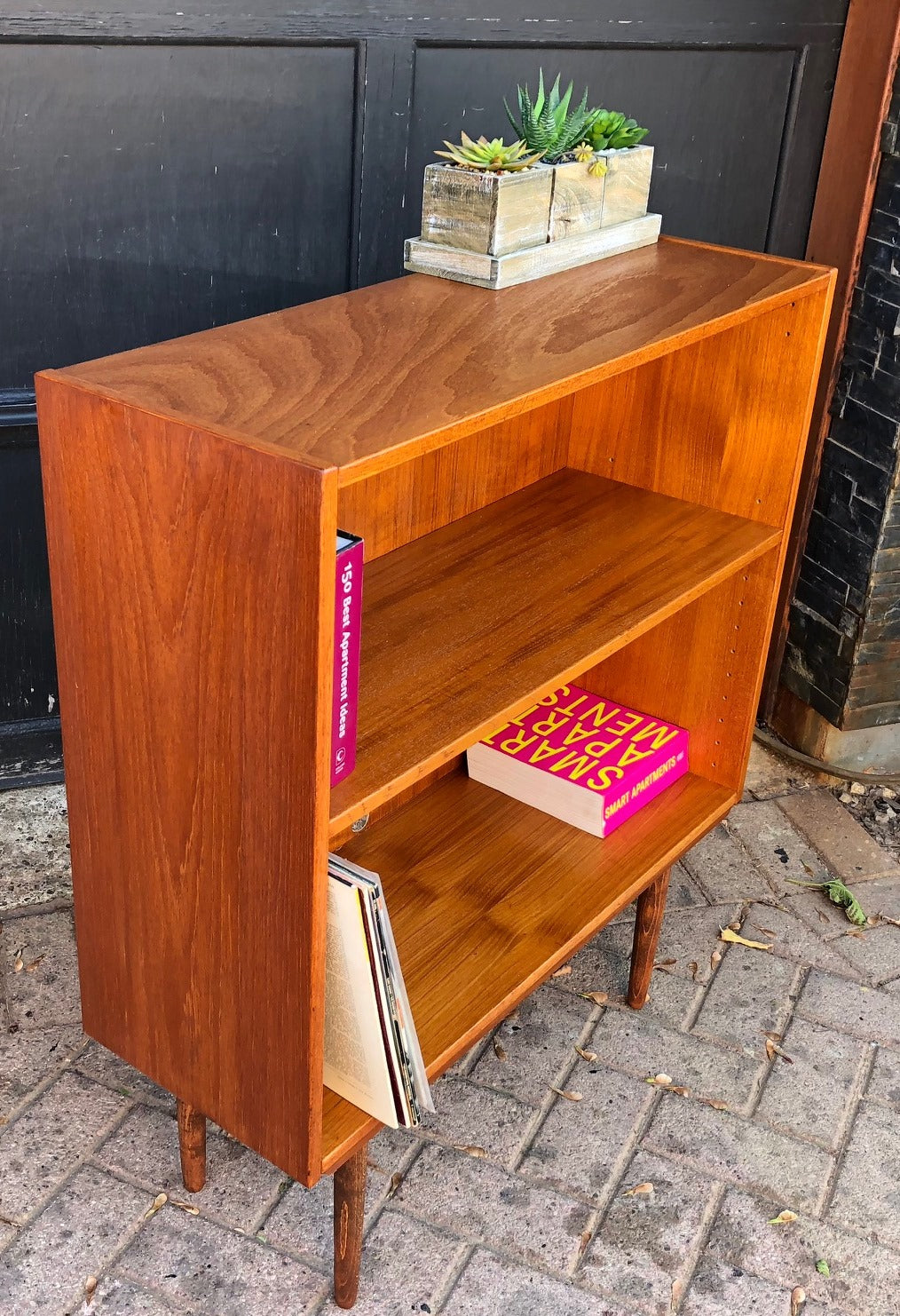 Refinished Mcm Teak Display Bookcase Small 32 Mid Century