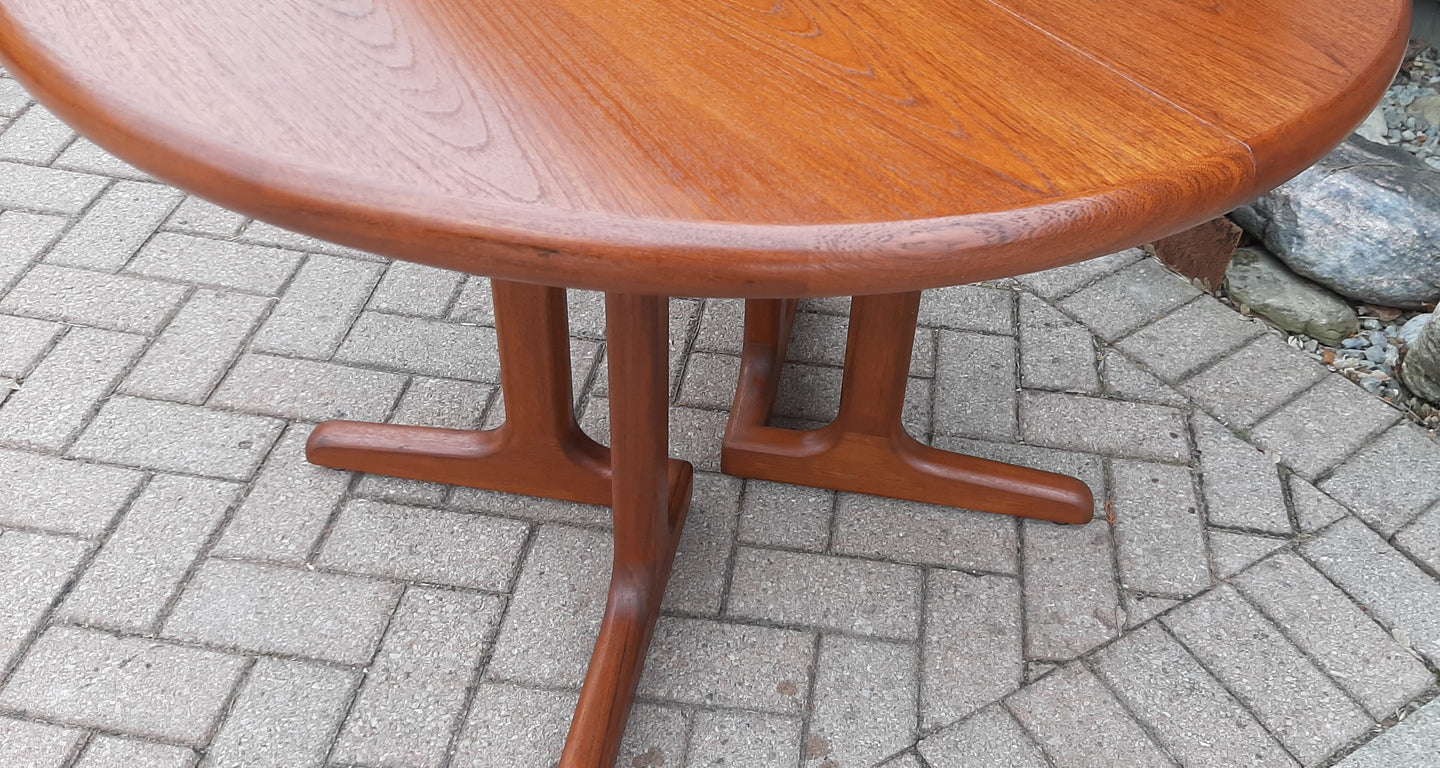 REFINISHED MCM Teak Table Round w 1 Leaf 41.5