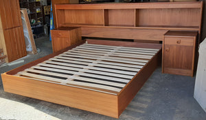 REFINISHED MCM Teak Dresser 8 Drawers, Wardrobe , 2 Nigh Stands, Queen Bed w Bookcase Headboard, PERFECT - Mid Century Modern Toronto