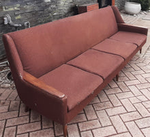 Load image into Gallery viewer, Danish MCM Teak Sofa 4-Seater will be REFINISHED & REUPHOLSTERED