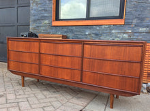 Load image into Gallery viewer, REFINISHED Mid-Century Modern Teak 9 drawers dresser 6ft PERFECT, tallboy coming - Mid Century Modern Toronto
