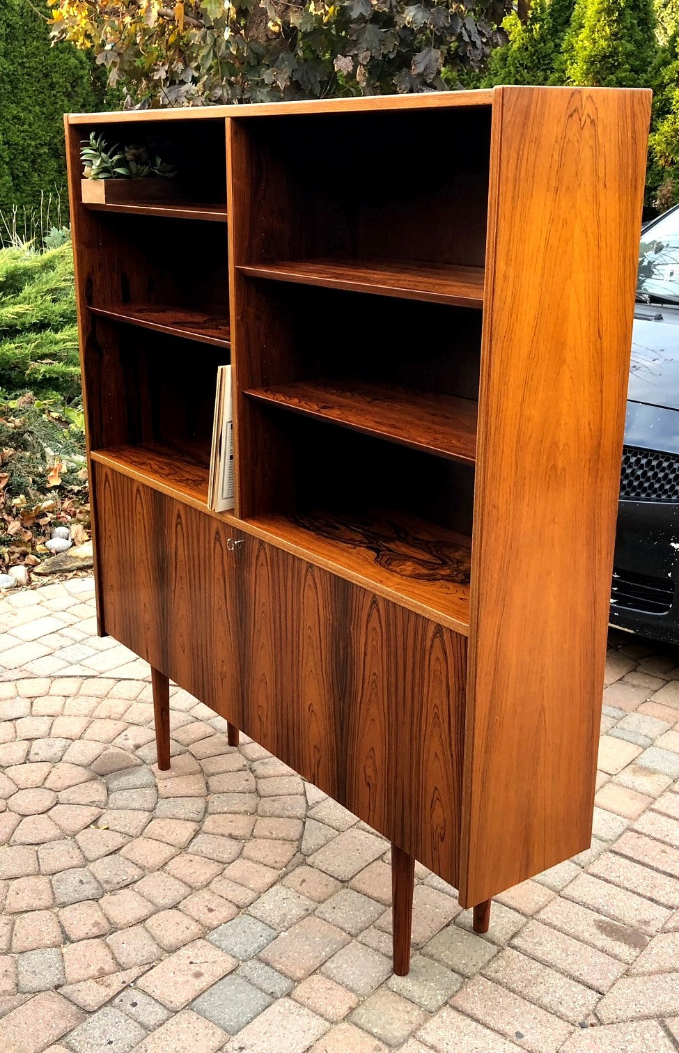 Restored Danish Modern Rosewood Bookcase Display Bar by Poul Hundevad, 54
