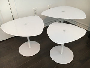 Mid Century Modern White Glass Tulip Accent Tables, set of 3, like new - Mid Century Modern Toronto