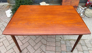 "REFINISHED Danish MCM Teak Draw Leaf Table Surfboard shape, PERFECT, 48.5"" - 84.5"""