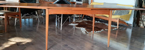 "REFINISHED MCM Teak Draw Leaf Table with 2 Extension Leaves, PERFECT 54-95"" - Mid Century Modern Toronto"