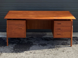 REFINISHED Danish MCM Executive Teak Desk with Floating Top and Finished Back