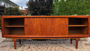 "NOT AVAILABLE *****REFINISHED Danish MCM Teak Credenza by B. Pedersen 78.5"" w sliding doors - Mid Century Modern Toronto"