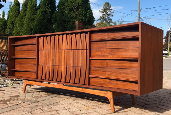 REFINISHED Sculptural MCM Walnut Dresser 9 drawers or Credenza 7ft perfect - Mid Century Modern Toronto