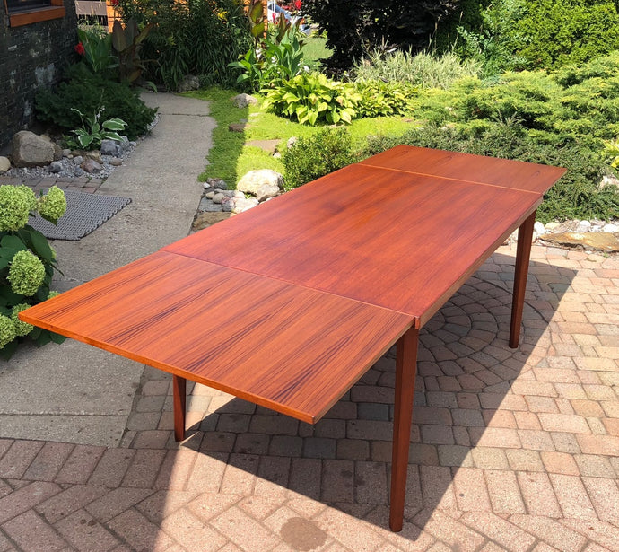 REFINISHED Danish MCM Teak Draw Leaf Dining Table in style of Henning Kjaernulf 55