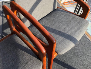 ON HOLD Teak MCM REUPHOLSTERED Angled Arm Chair by Kai Kristiansen, grey; 6 chairs available - Mid Century Modern Toronto