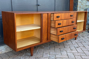 REFINISHED MCM Teak Sideboard with tambour doors by RS Associates 78""