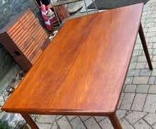 "Load image into Gallery viewer, REFINISHED Danish MCM Teak Draw Leaf Table Surfboard shape, PERFECT, 48.5"" - 84.5"""
