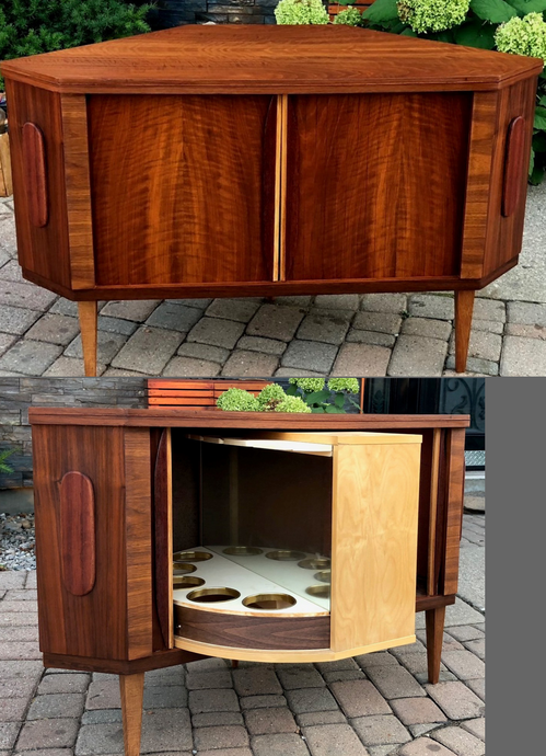 REFINISHED Danish MCM  Teak Bar w Tambour Doors, perfect - Mid Century Modern Toronto