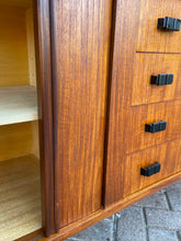 Load image into Gallery viewer, REFINISHED MCM Teak Sideboard with tambour doors by RS Associates 78""