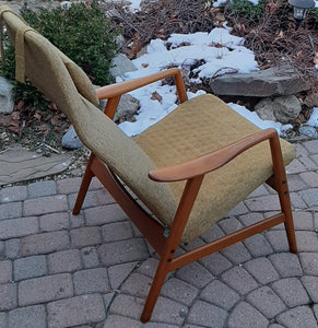 On Hold***Will be REFINISHED & REUPHOLSTERED Danish MCM Teak Lounge Chair Recliner by Arne Vodder and Anton Borg