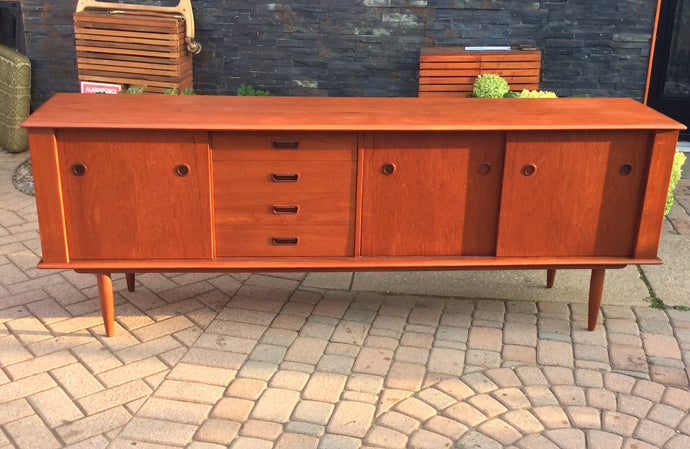REFINISHED Danish MCM Teak Sideboard TV Media Console 84