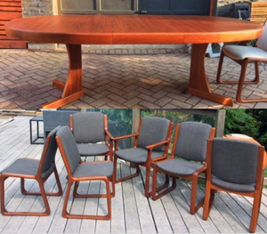 REFINISHED MCM  Teak Table Extendable & 6 Chairs REUPHOLSTERED- like NEW-Super Sale - Mid Century Modern Toronto