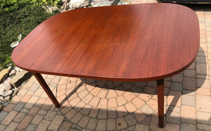 "REFINISHED MCM Teak Table Rounded (no leaf) 6-Seater 39""x59' - Mid Century Modern Toronto"