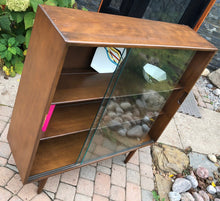 "Load image into Gallery viewer, MCM Ash Walnut Bookcase Display with glass doors like new 40.5"" trapezoid shape - Mid Century Modern Toronto"