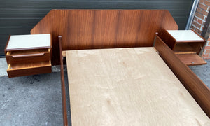 REFINISHED  Italian MCM Bed w floating nightstands Double