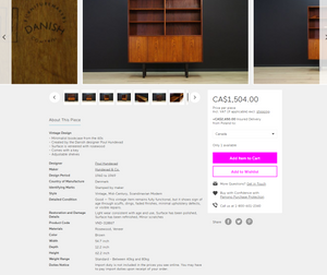 "Restored Danish Modern Rosewood Bookcase Display Bar by Poul Hundevad, 54"" x 12"" x H 63"" - Mid Century Modern Toronto"