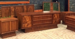 REFINISHED MCM Walnut Brutalist Bedroom SET in Paul Evans style, perfect - Mid Century Modern Toronto