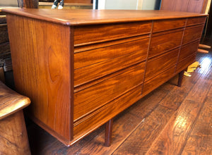 "REFINISHED MCM Teak 9 Drawers Dresser 77"". Matching Tallboy and Headboard coming - Mid Century Modern Toronto"