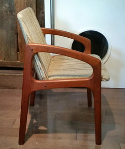Teak MCM REUPHOLSTERED Angled Arm Chair by Kai Kristiansen, grey; 6 chairs available - Mid Century Modern Toronto