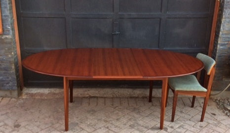 REFINISHED Danish MCM  Teak Table Oval w 1 Leaf Self Storing 64