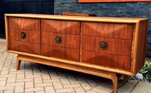 Load image into Gallery viewer, REFINISHED MCM Walnut Bedroom Set Vladimir Kagan style: 9 Drawer Dresser, Tallboy, 2 Nightstands & Headboard - Mid Century Modern Toronto