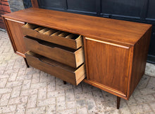 "Load image into Gallery viewer, REFINISHED MCM Walnut Credenza w sliding doors 68"" - Mid Century Modern Toronto"
