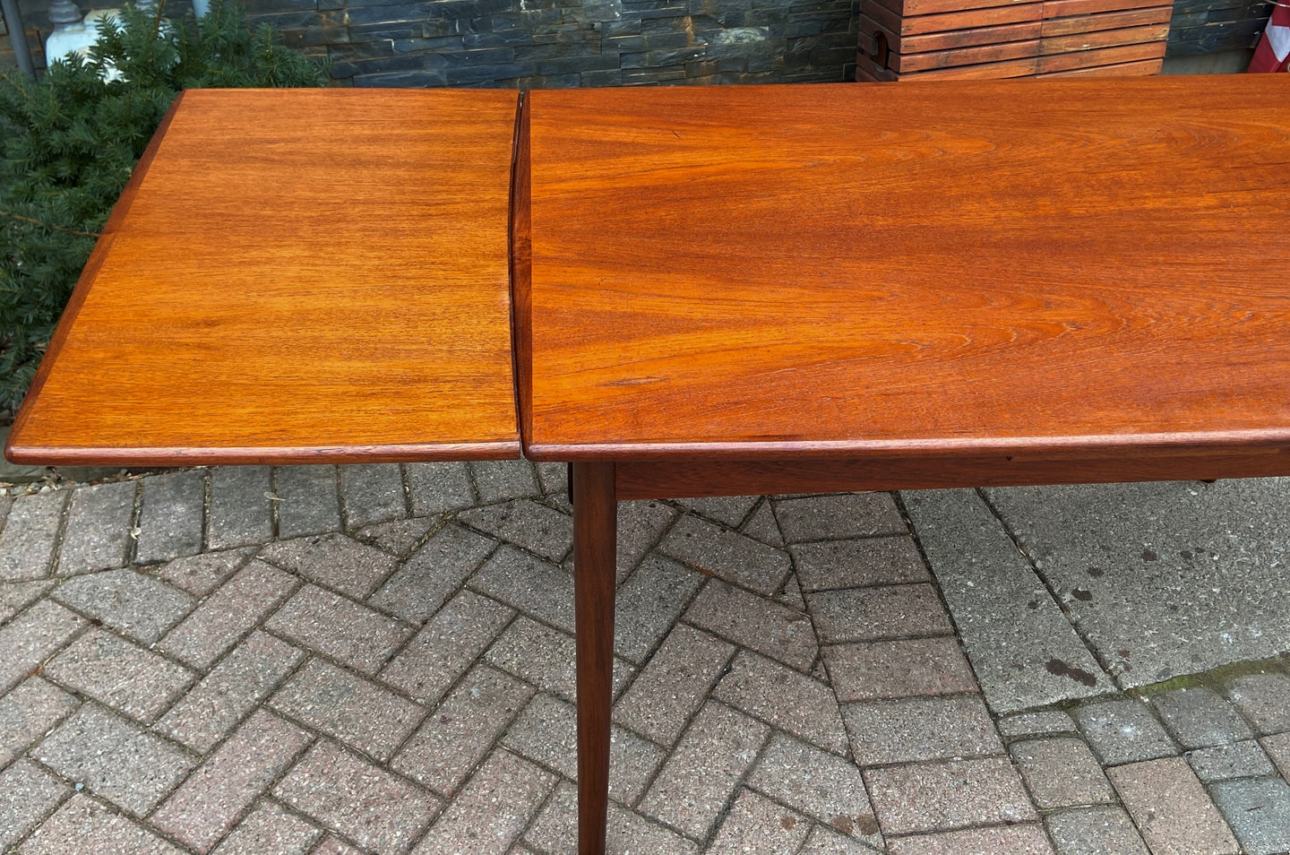 REFINISHED Danish MCM Teak Draw Leaf Table Surfboard shape, PERFECT, 48.5