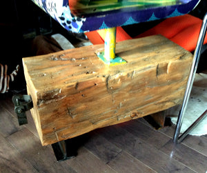 Unique Barn Beam Bench with Rotating Display One of the Kind - Mid Century Modern Toronto