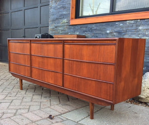 REFINISHED Mid-Century Modern Teak 9 drawers dresser 6ft PERFECT, tallboy coming - Mid Century Modern Toronto