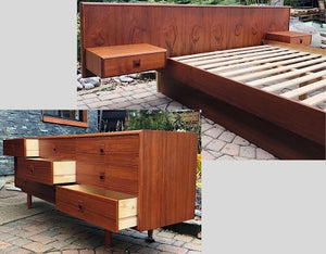 REFINISHED MCM Teak Platform Bed w floating nightstands Queen & Teak Dresser 9 Drawers - Mid Century Modern Toronto