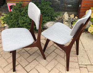 Set of 2 REUPHOLSTERED Danish MCM Teak Chairs, by  Arne Hovmand Olsen, each $275 (only this pair is available) - Mid Century Modern Toronto
