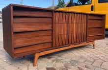 Load image into Gallery viewer, REFINISHED Sculptural MCM Walnut Dresser 9 drawers or Credenza 7ft perfect - Mid Century Modern Toronto