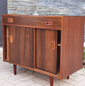 "RESTORED Danish MCM Rosewood Cabinet with sliding doors & drawer, compact 34"", perfect - Mid Century Modern Toronto"