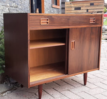 "Load image into Gallery viewer, RESTORED Danish MCM Rosewood Cabinet with sliding doors & drawer, compact 34"", perfect - Mid Century Modern Toronto"