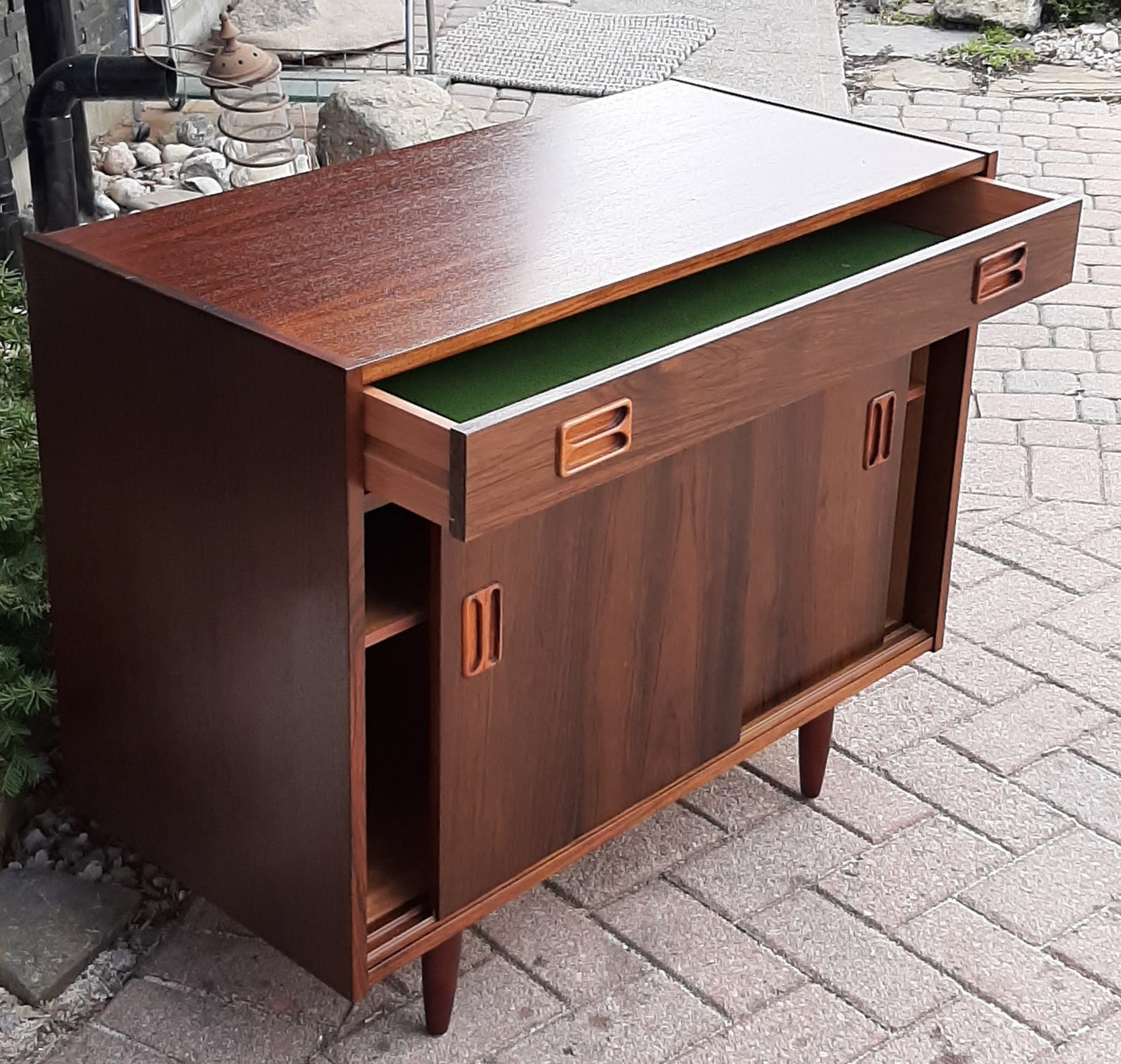 RESTORED Danish MCM Rosewood Cabinet with sliding doors & drawer, compact 34